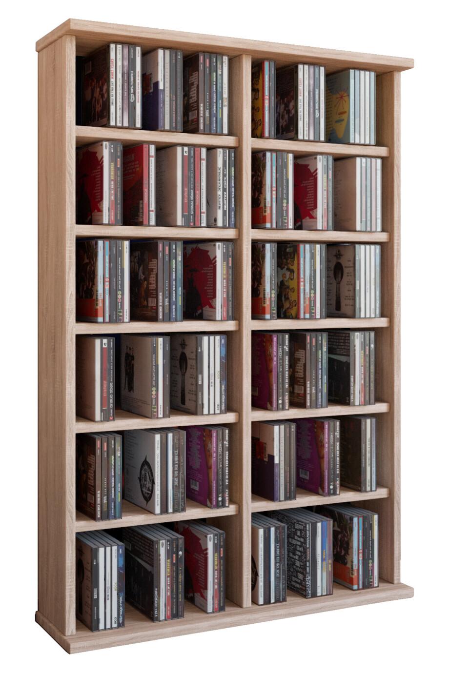 VCM CD / DVD Möbel Ronul - Schrank / Regal ohne Glastür in 7 Farben: sonoma-eiche (sägerau)