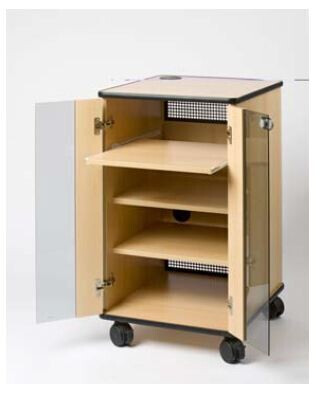 Liesegang Armario multimedia básico gris con puerta de cristal y de inspección