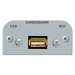 Kindermann USB (2.0 kompatibel) A-Buchse/A-Buchse mit Kabelpeitsche Halbblende 54 x 54 mm