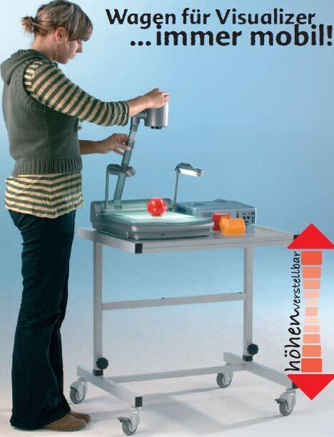 Conen Höhenverstellbarer Wagen für Visualizer (Farbe: Holz: grau; Stahl: lichtgrau)