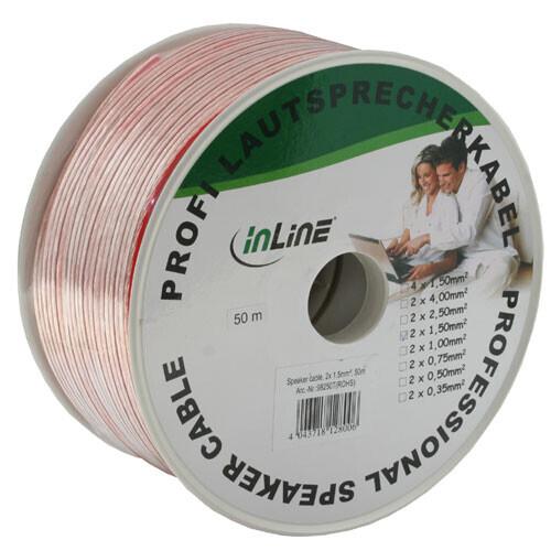 InLine högtalarkabel, 2x 1,5 qmm, CCA, transparent, 50 m