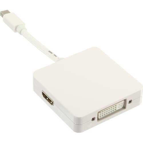 InLine Mini DisplayPort naar HDMI/DVI/DisplayPort adapterkabel, wit