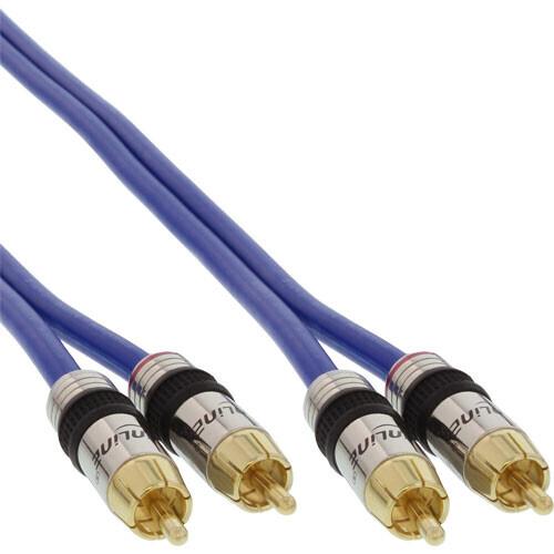 InLine Cable Cinch AUDIO, PREMIUM, enchufes dorados, 2x Cinch macho / macho, 5m