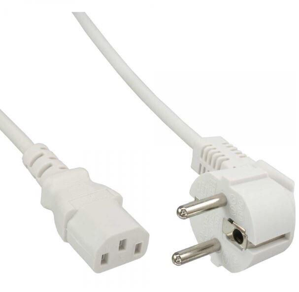 Cable de alimentación en línea, conectado a tierra en ángulo para conector IEC C13, 5 m, blanco