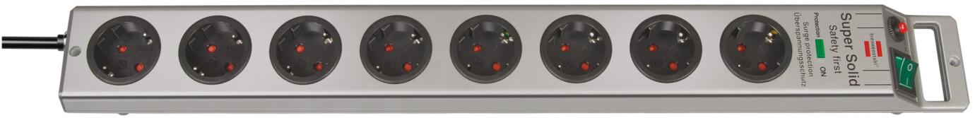 Brennenstuhl Super-Solid 4.500 A Overvoltage Protection - grenuttag 8-fack silver