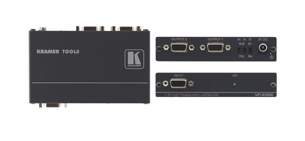 Kramer VP-200K Amplificador de distribución 1:2 UXGA con procesamiento de sincronización Kr-isp