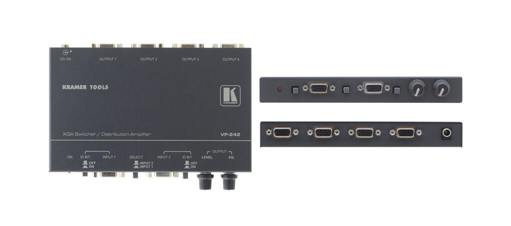 Kramer VP-242 2x1 UXGA-Umschalter mit 1:4 Verteilverstärker