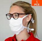 celexon Behelfs- Mund- und Nasenmaske Premium 100% Baumwolle mehrlagig ÖkoTex100 - 5er Pack - mit Binder