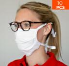 celexon Behelfs- Mund- und Nasenmaske Premium 100% Baumwolle mehrlagig ÖkoTex100 - 10er Pack - mit Binder