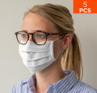 celexon Behelfs- Mund- und Nasenmaske Premium 100% Baumwolle mehrlagig ÖkoTex100, mit Gummi - 5er Pack