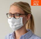 celexon Behelfs- Mund- und Nasenmaske Premium 100% Baumwolle mehrlagig ÖkoTex100, mit Gummi - 250er Pack