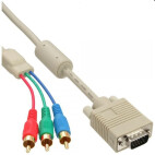 InLine VGA RGB Kabel, VGA Stecker an 3x Cinch Stecker, 2m