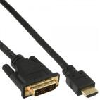 InLine HDMI-DVI-kabel, guldpläterade kontakter, HDMI hane till DVI 18 +1 plugg, 3m
